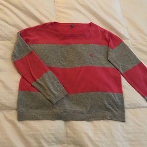 Benetton Sweater Pink & Gray Stripe